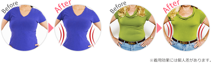 着用前後比較画像 ※着用効果には個人差があります。