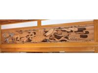 鷹と松の欄間両面彫