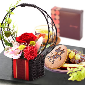 母の日 2016 花籠プリザ+どら焼き3個セット(赤)