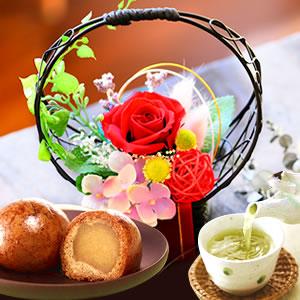 母の日 2016 花籠プリザーブドフラワー+かりんとう饅頭(赤)