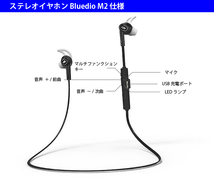 2015年モデル Bluedio M2 インイヤー ワイヤレス Bluetooth 4.1 HiFi音質 高音質 ステレオ ヘッドセット ステレオ イヤホン スポーツ ヘッドフォン ハンズフリー 音楽 ◇M2