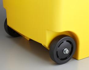 移動に便利なキャスター付き。容器に直径100mmの車輪が2個セットされて、重いゴミの収集や廃棄場までの移動ラクラク行え便利です。