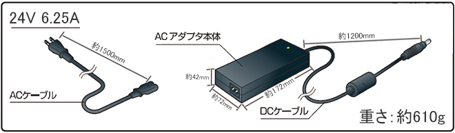 ACアダプター24V 6.25Aの寸法