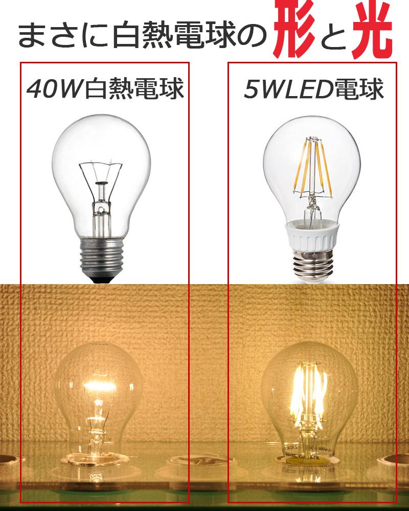 まさに白熱電球の形と光