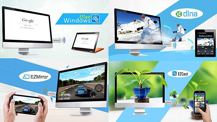 EZCast iPush転送器 iOS、Android、 Windows、MAC OSシステム通用Wireless HDMIディスプレイDLNA, Miracast, EZAir (Airpaly)対応 HDMIドングル レシーバー 720/1080P対応 遊び/仕事両用可 超軽量でスマートフォン、タブレットを大画面で簡単に楽しめる