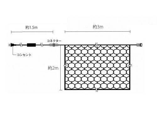 LEDネットライト 360球 2M×3M 3本まで連結可能 イルミネーション クリスマス 防雨型屋外使用可能